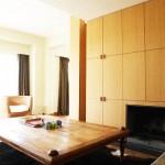 Salon en placage et cheminée intégrée