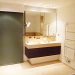 Salle de bain, pierre et placage exotique